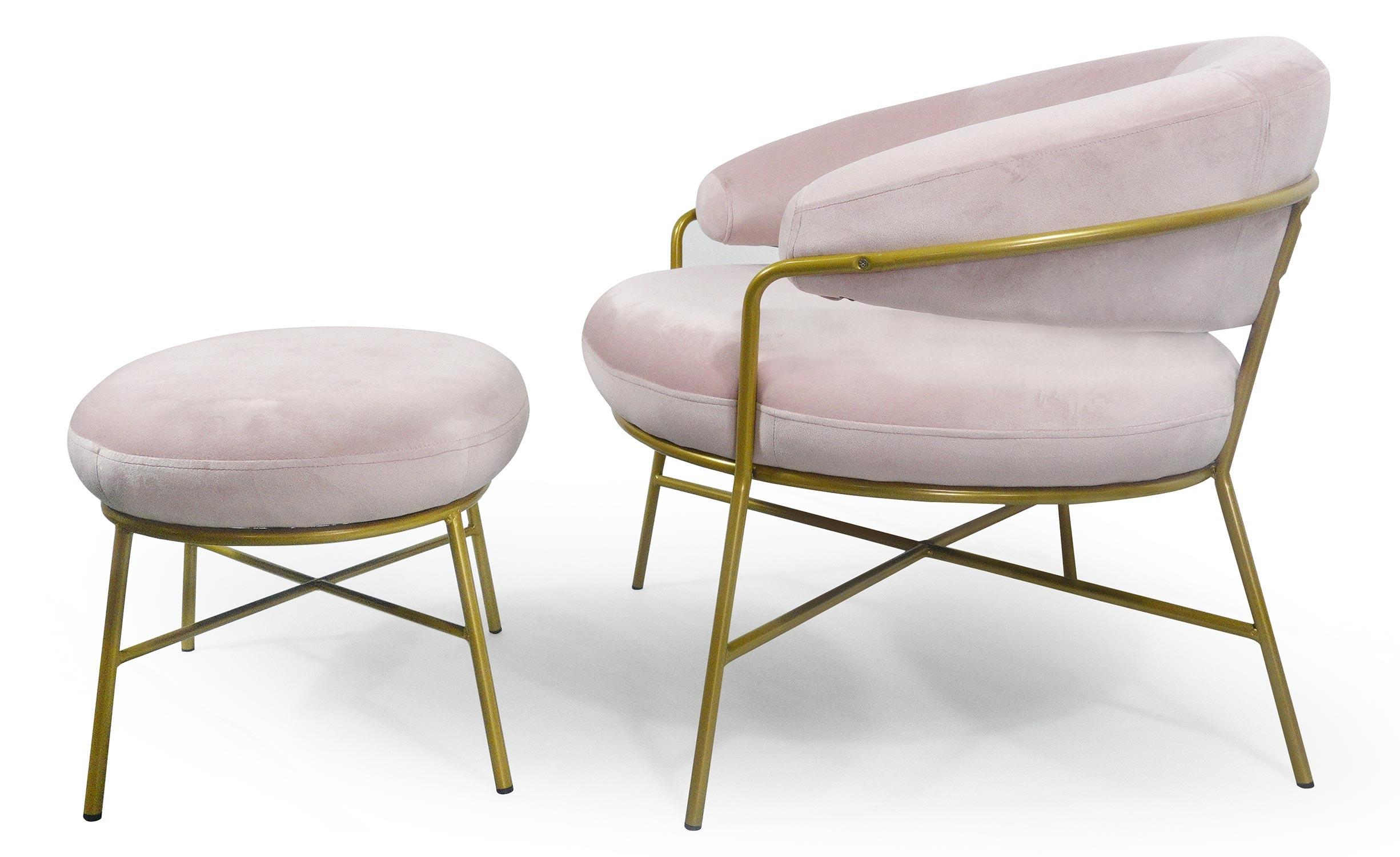 Nanty fauteuil +  roze fluweel+ ottomaanse gouden voet