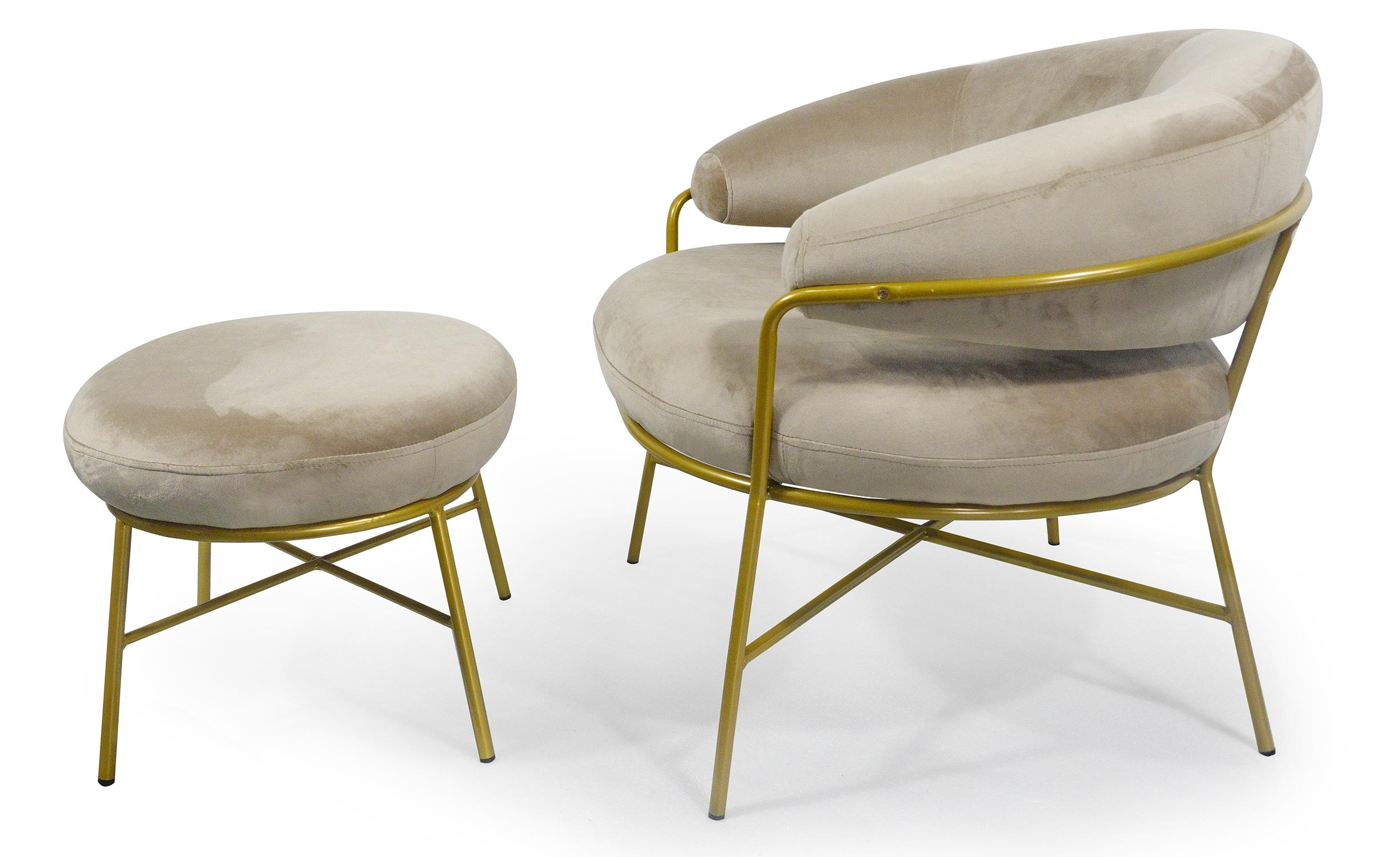 Nanty fauteuil kleur taupe fluweel ottomaanse gouden poten