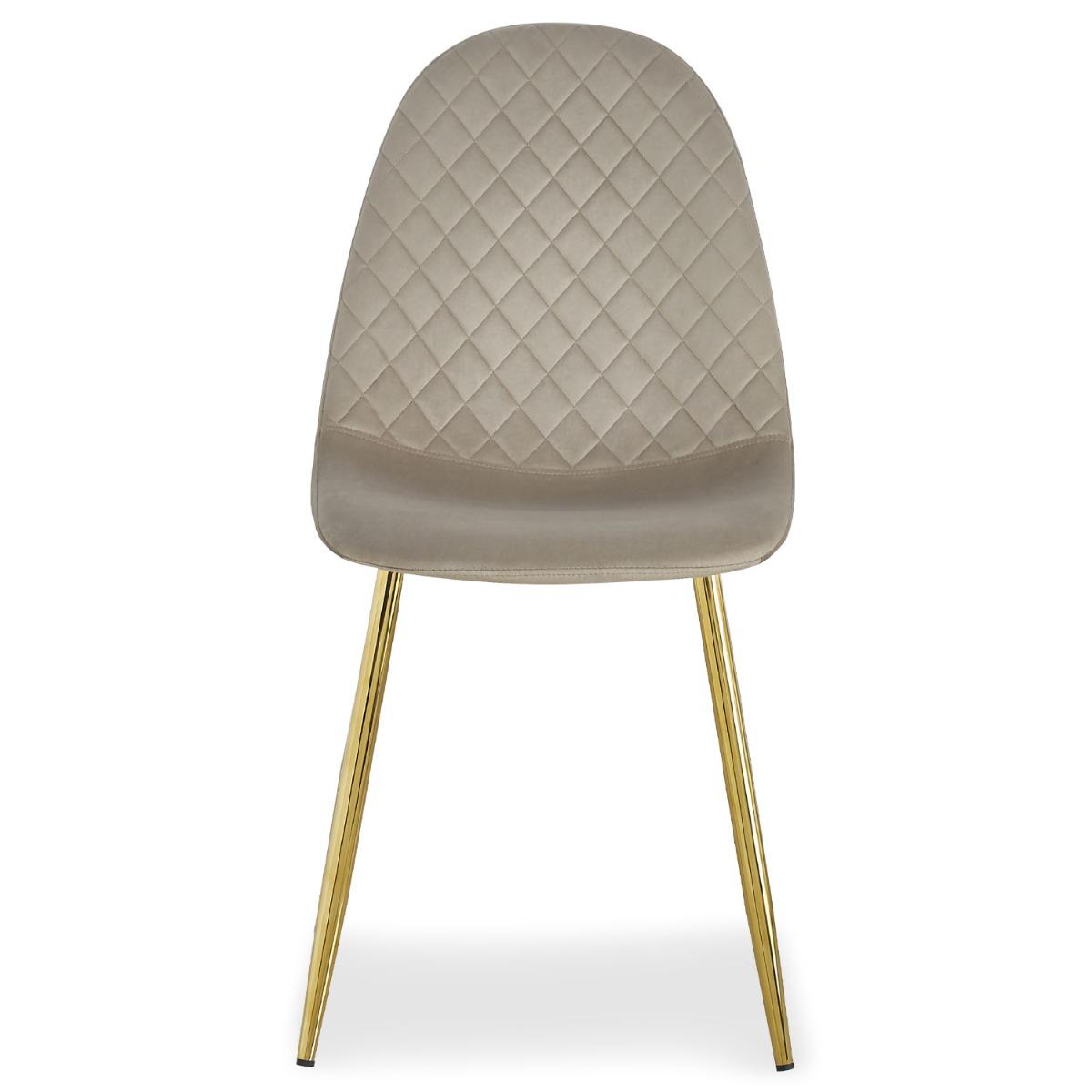 Set van 4 doorgestikte stoelen van Noorwegen Velours Taupe