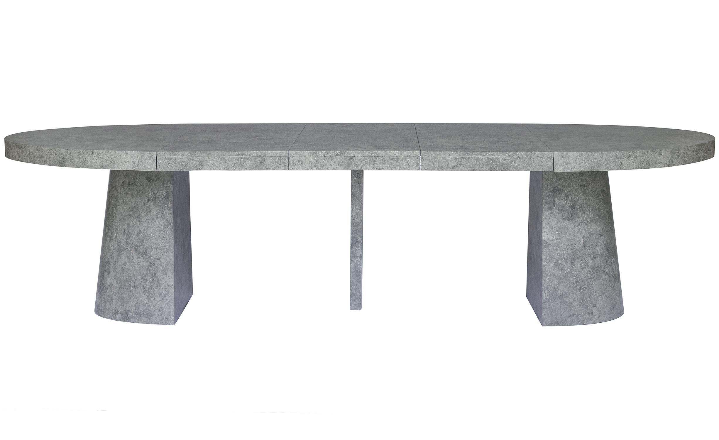 Ovale uitschuifbare tafel Oluze Beton Effect