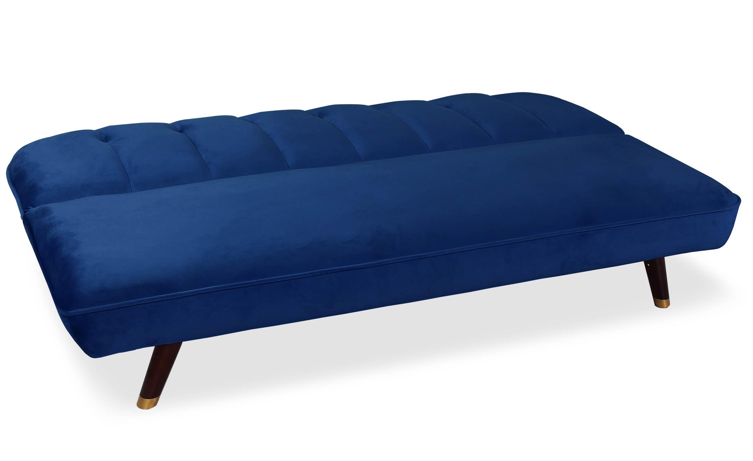 Slaapbank van blauw velours Olympia