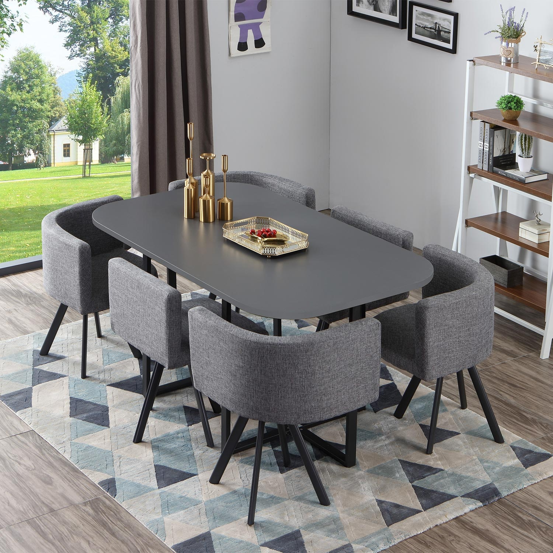 Oslo XL grijze en grijze stoffen tafel en stoelen