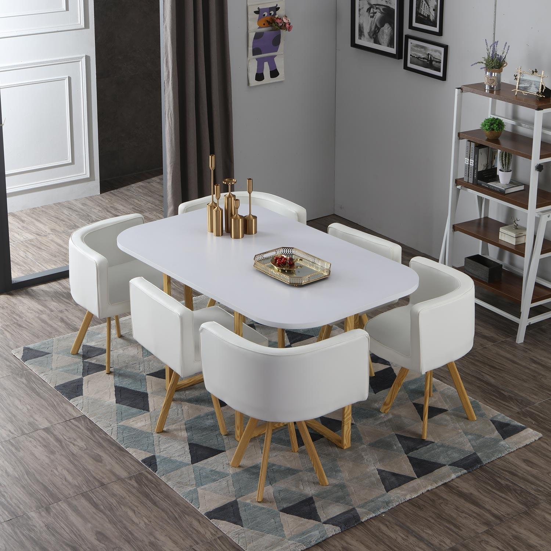 Oslo XL witte en simili witte tafel en stoelen