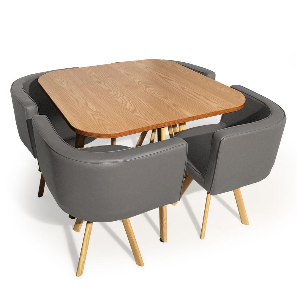 Scandinavische tafel en stoelen Oslo Grijks en Oak
