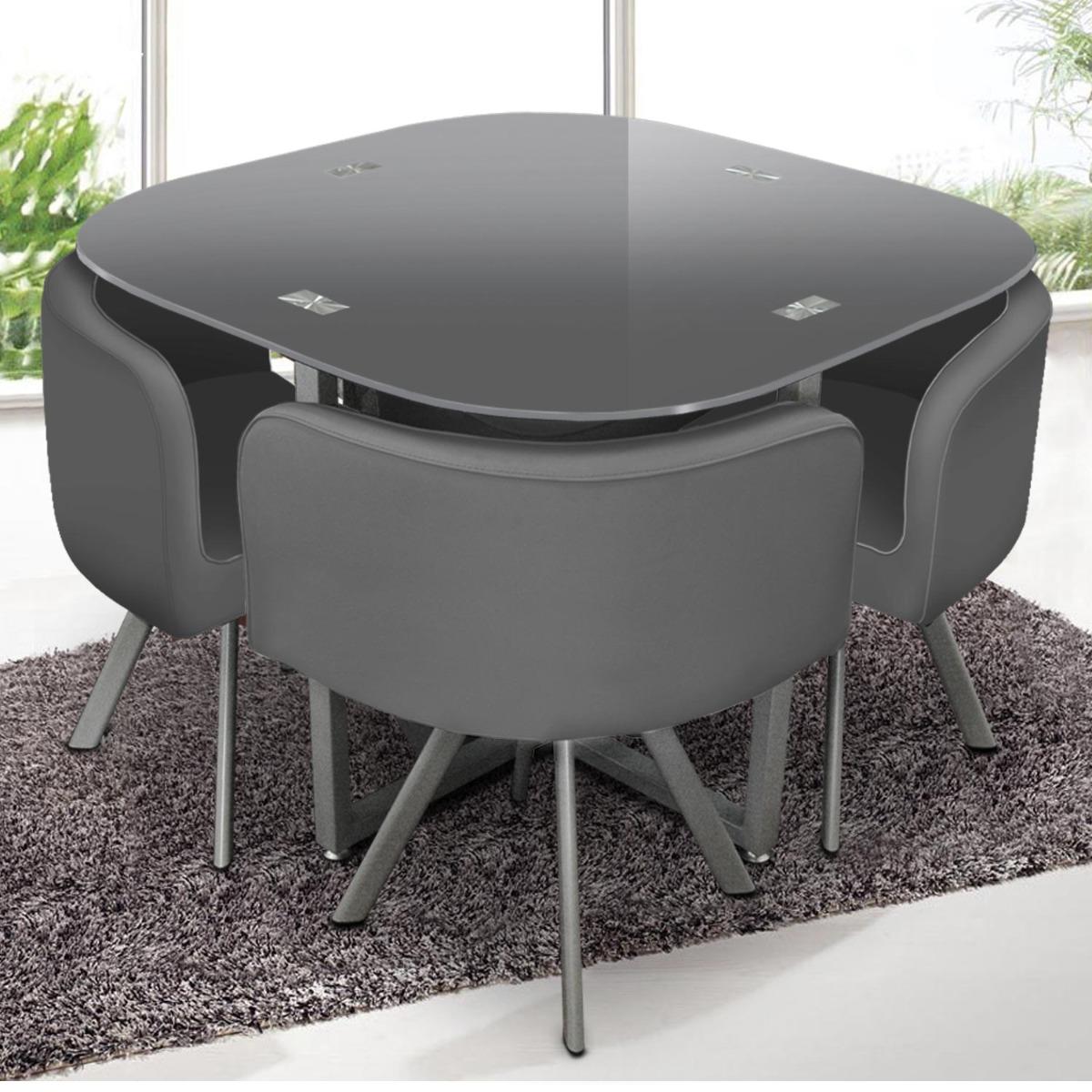 Mosaic 90 grijze tafel en stoelen