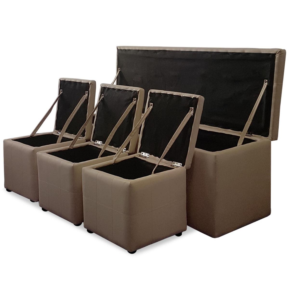 Panky XL-kistbank + 3 bruine voetenbankjes