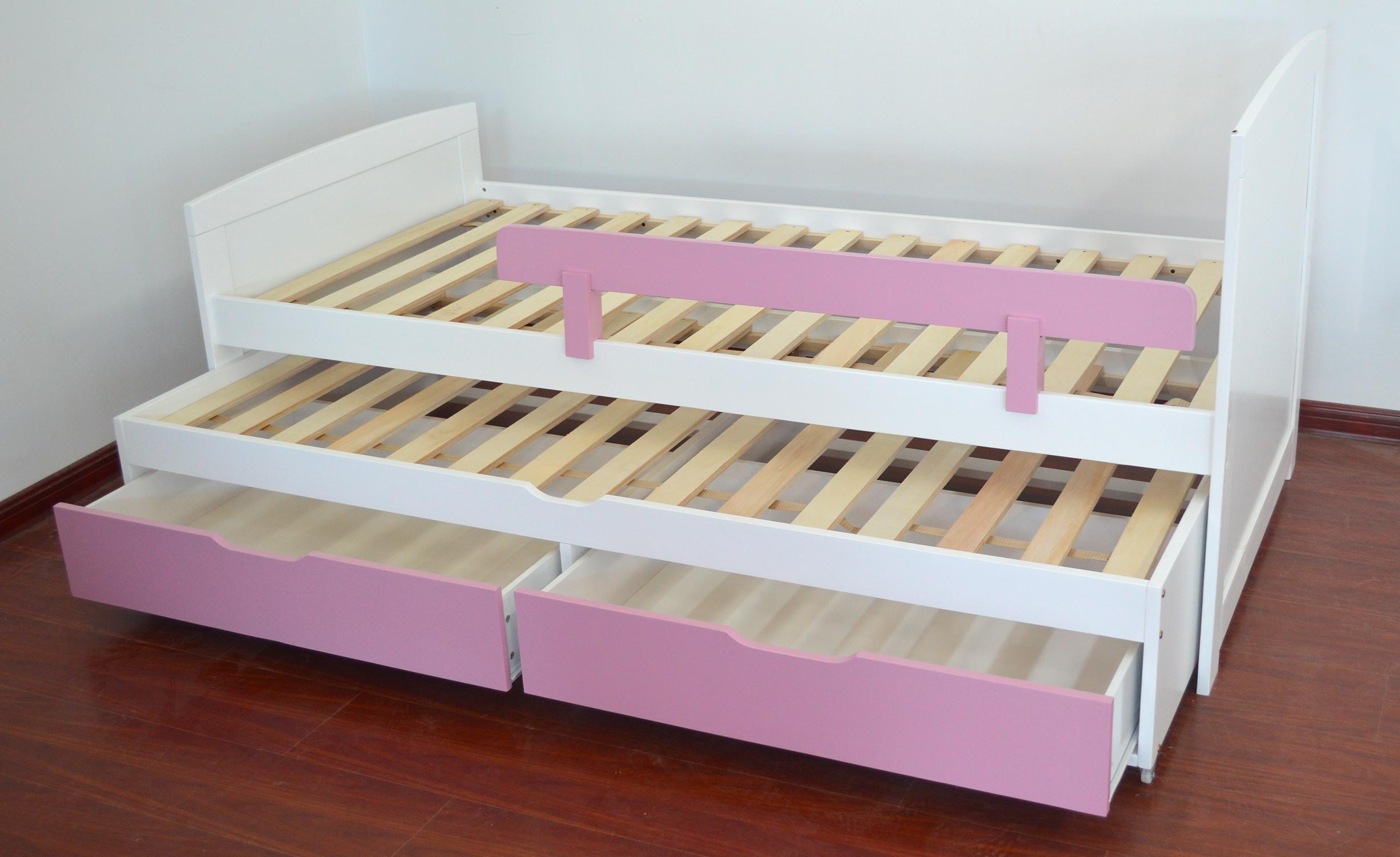 Patapon wit en roze kinder onderschuifbed met boxsprings en lades