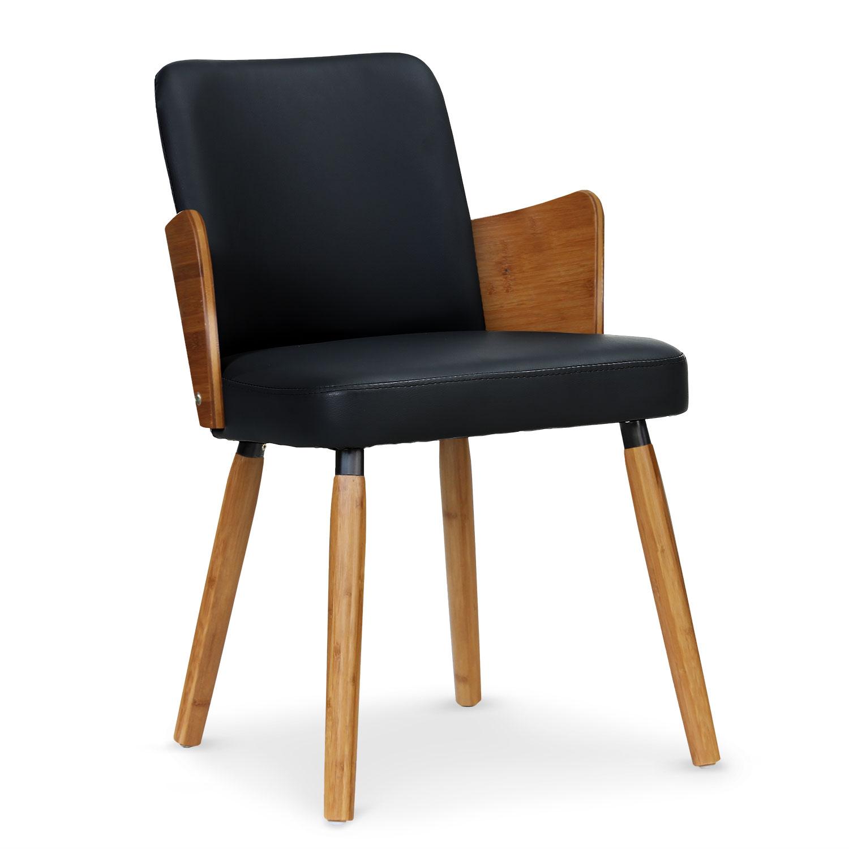 Set van 2 Scandinavische Phibie stoelen in natuurlijk hout en zwart