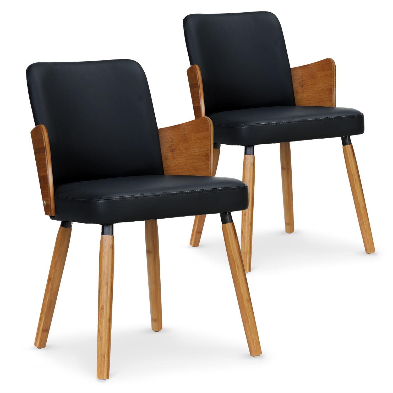 Lot de 2 chaises scandinaves Phibie bois naturel et Noir