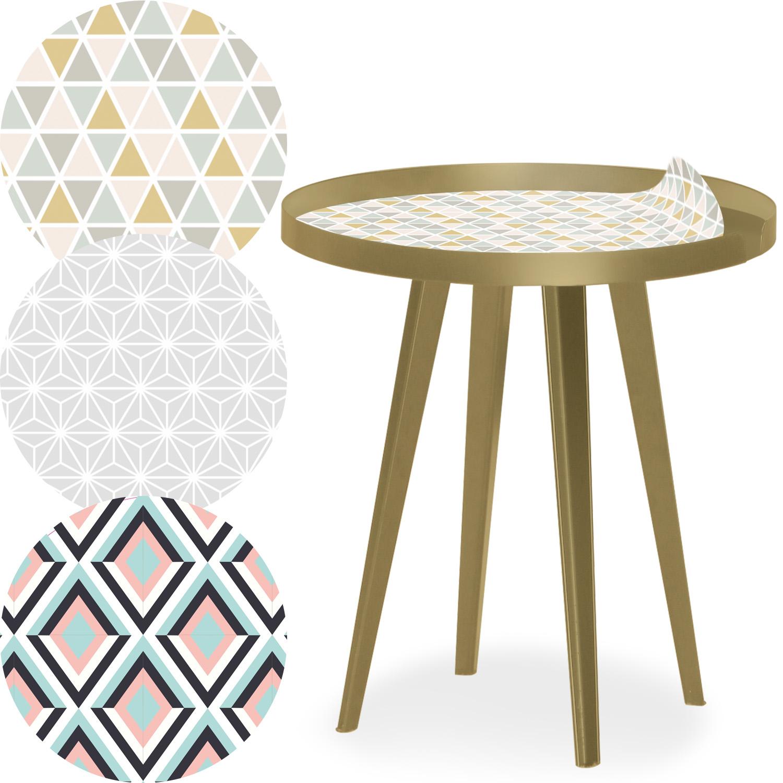 Bipolart metalen gouden ronde magnetische bijzettafel 45cm met 3 bladen in Scandinavische stijl