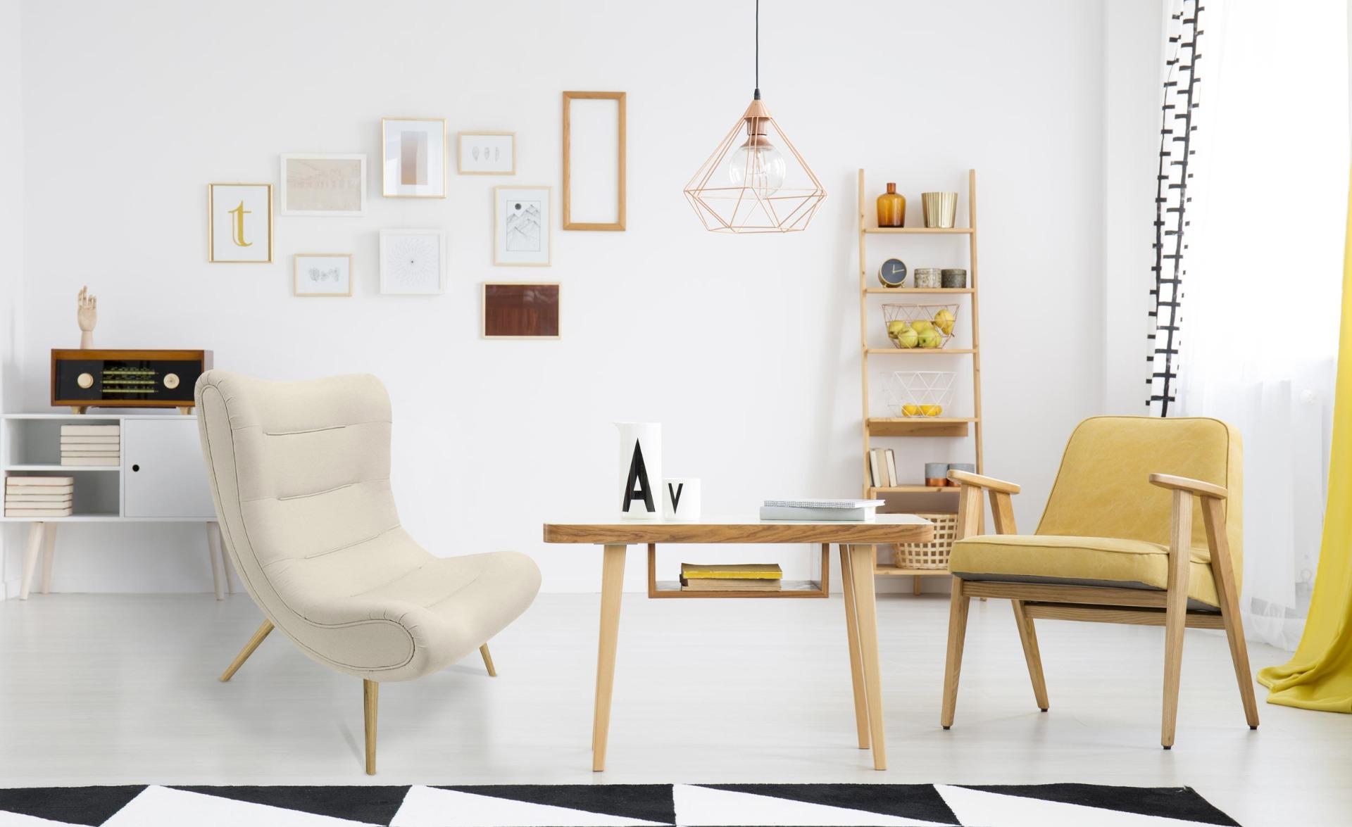Scandinavische Romilly fauteuil beige stof