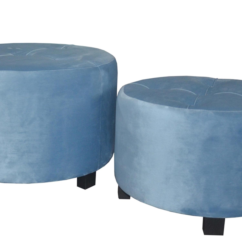 Set van 3 Rondeo Blauw Velvet poefs