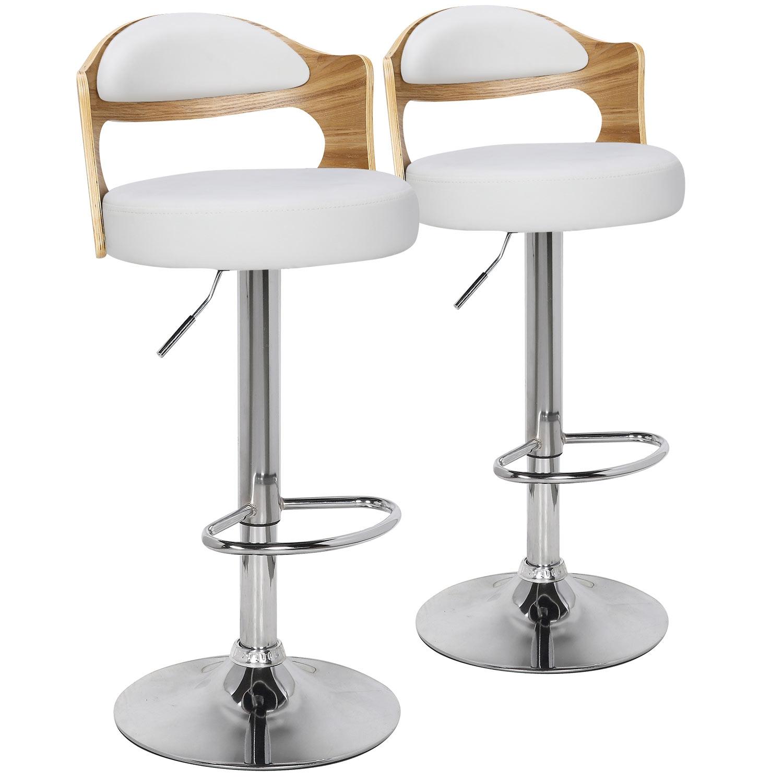 Lot de 2 chaises de bar Ruben Chêne Clair & Simili Blanc