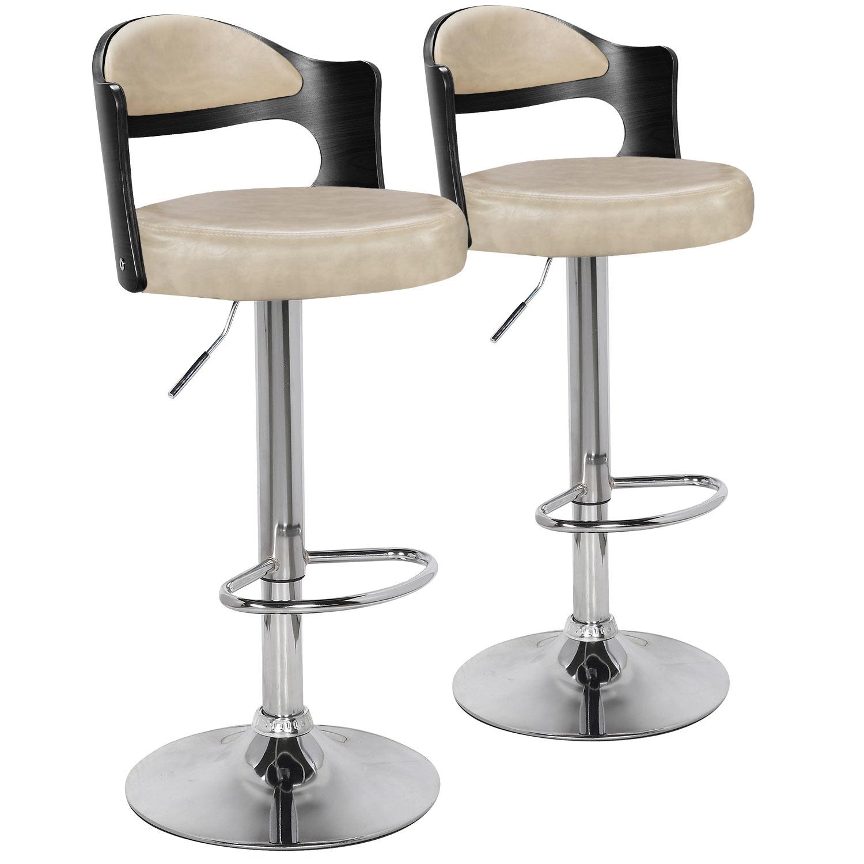 Lot de 2 chaises de bar Ruben Bois Noir & Simili Crème