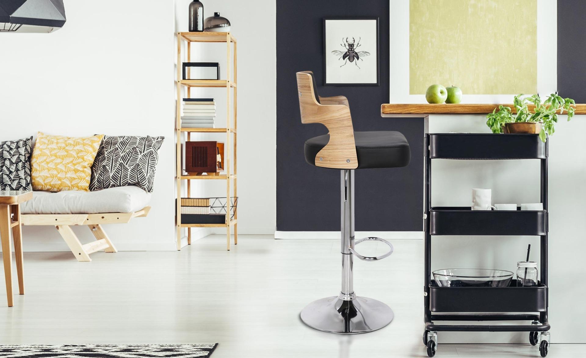 Set van 2 Russel Barstoelen Licht Eiken & Zwart