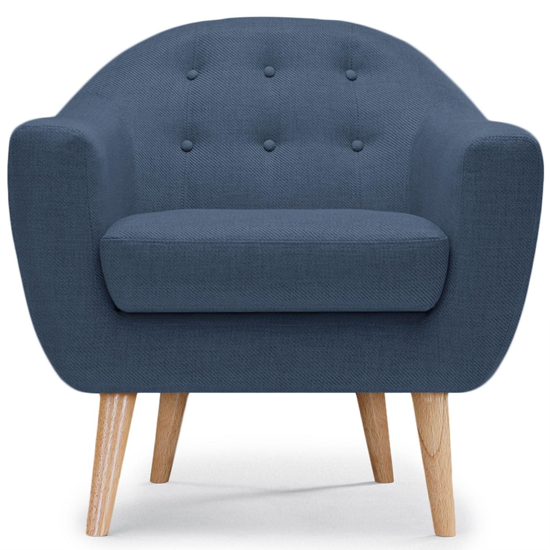 Scandinavische Savoy fauteuil blauwe stof