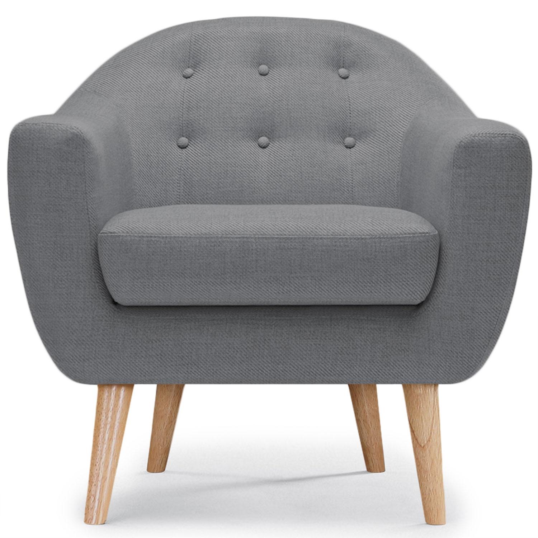 Scandinavische Savoy fauteuil Grijze stof