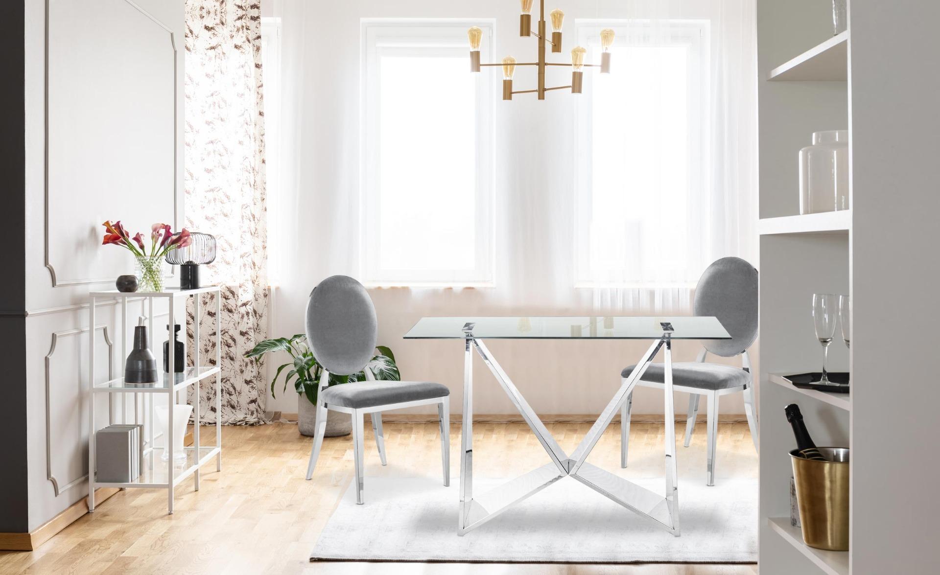 Set van 4 Sofia fluwelen stoelen Zilver
