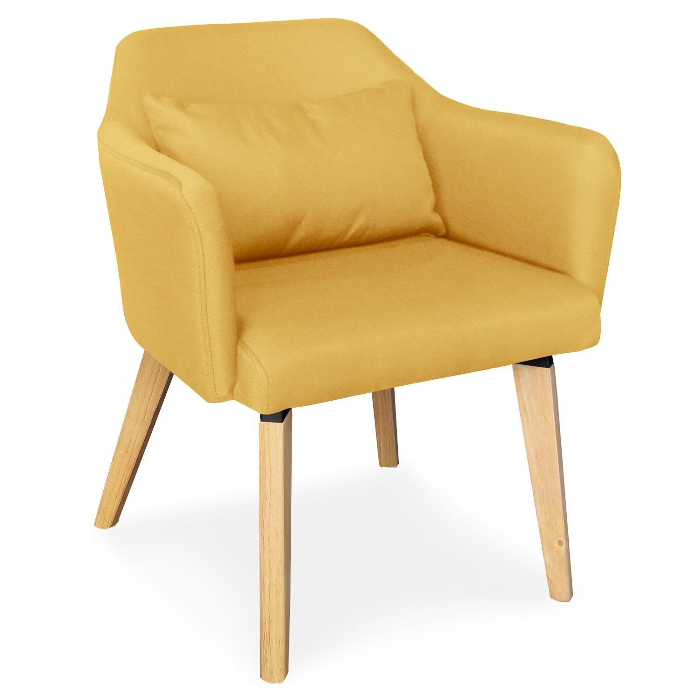 Set van 2 Scandinavische Shaggy gele stoffen stoelen / fauteuils