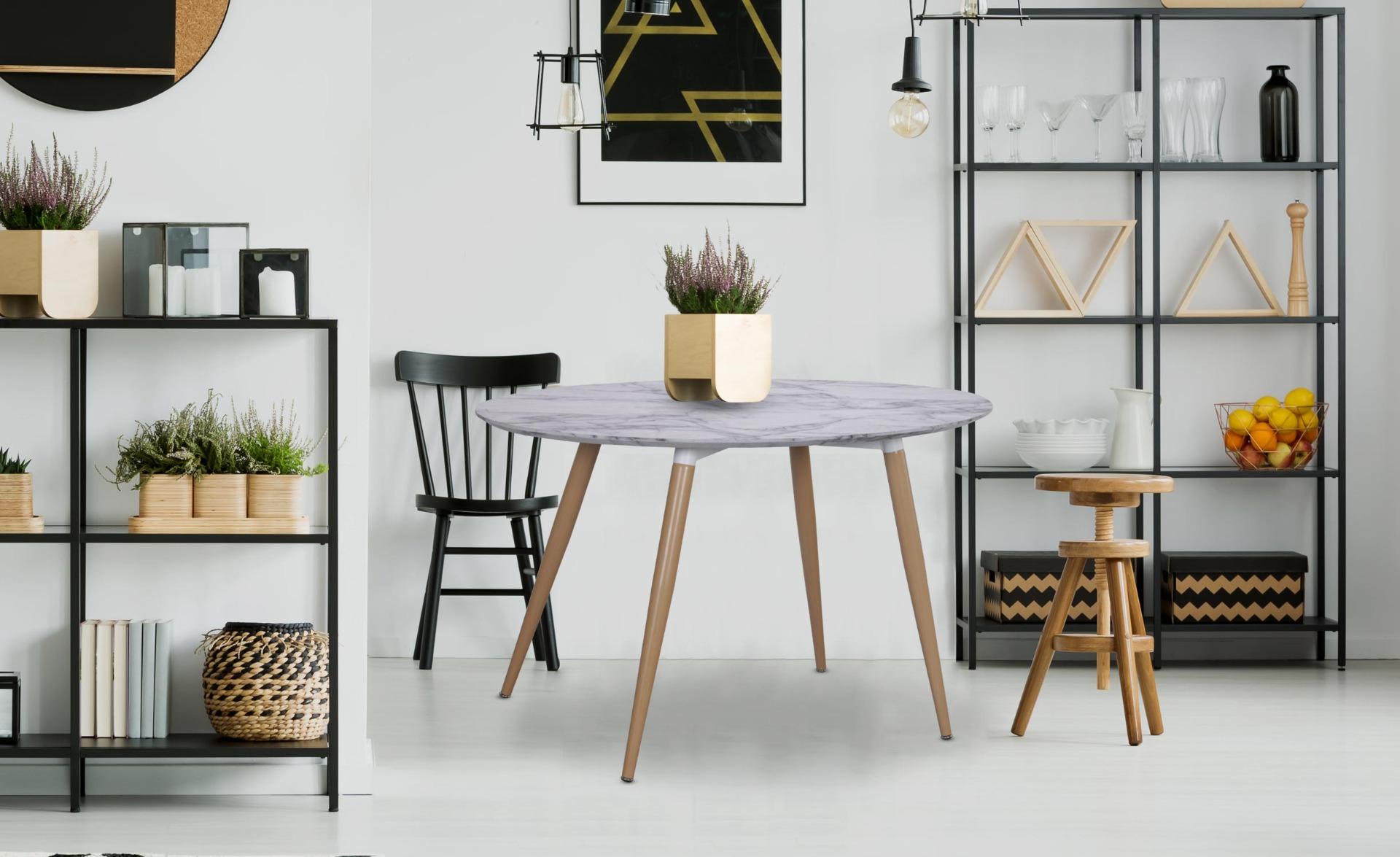 Scandinavische ovale tafel Sissi marmer effect