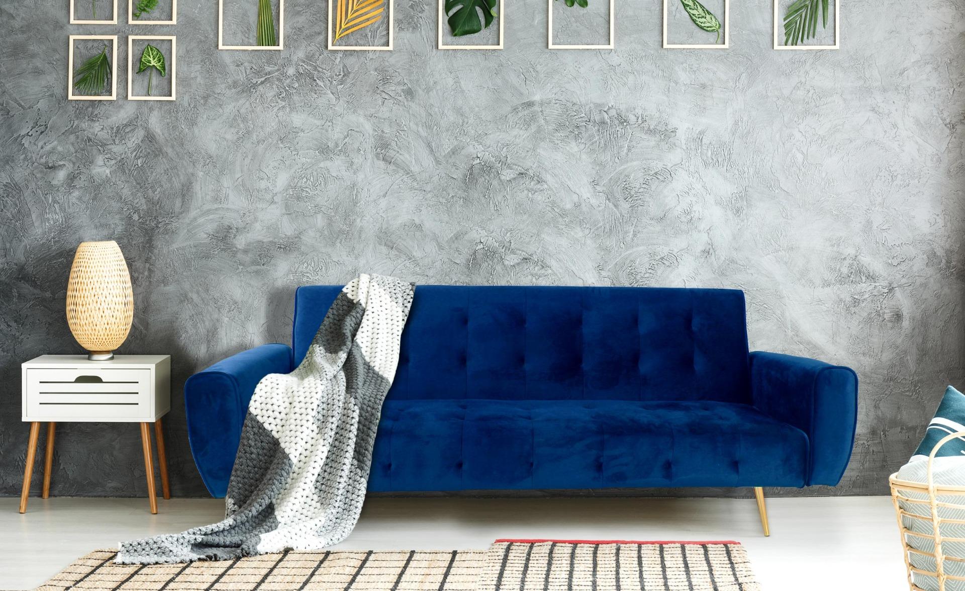 Scandinavische slaapbank Slovenia Blauw Velvet