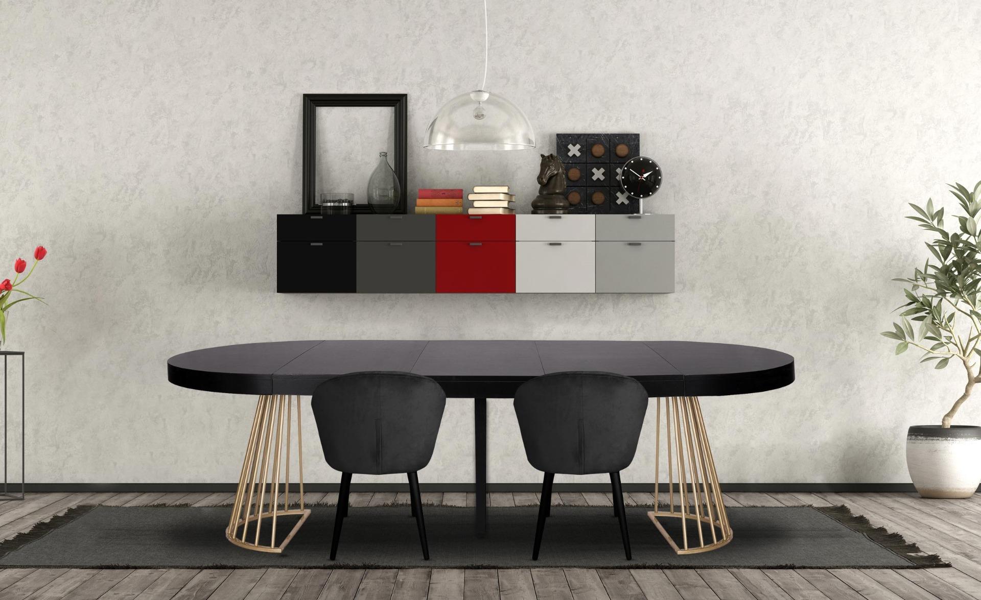 Uitschuifbare ronde tafel Soare Zwart gouden pootjes