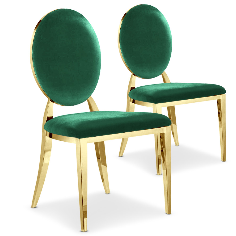 Lot de 2 chaises médaillon Sofia velours Vert