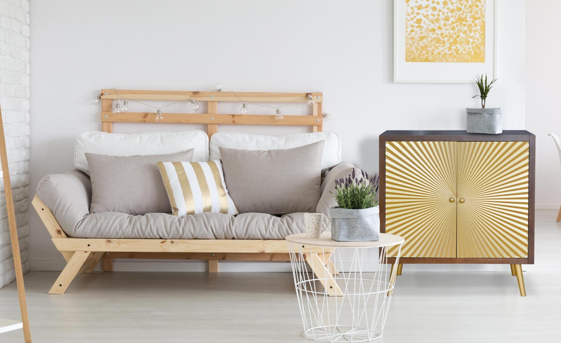 Buffet 2 deuren Solaris in hout en goud