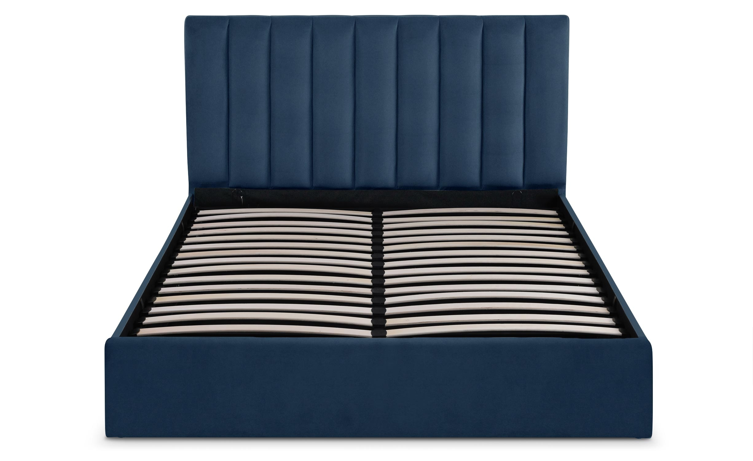 Songe bed met opbergruimte + blauwe fluwelen basis 160 cm