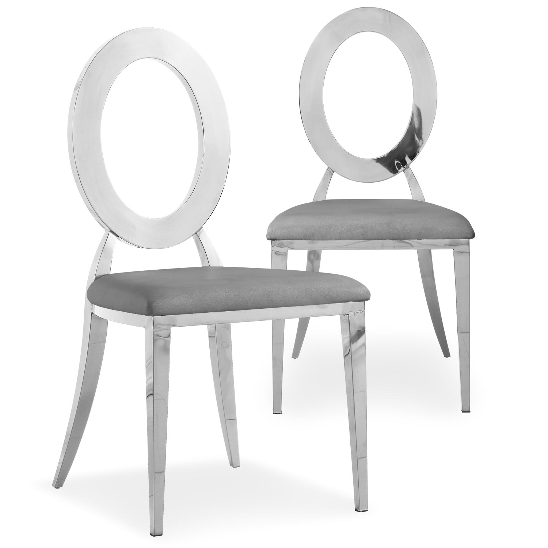Set van 2 Sonia metalen en grijze simili stoelen