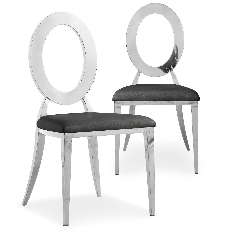 Set van 2 Sonia-stoelen in zilverkleurig metaal en zwarte imitatie