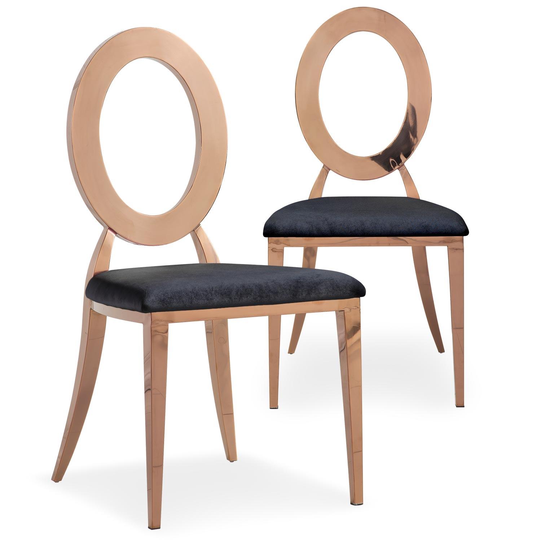Set van 2 Sonia stoelen van rosé goud metaal en zwart fluweel