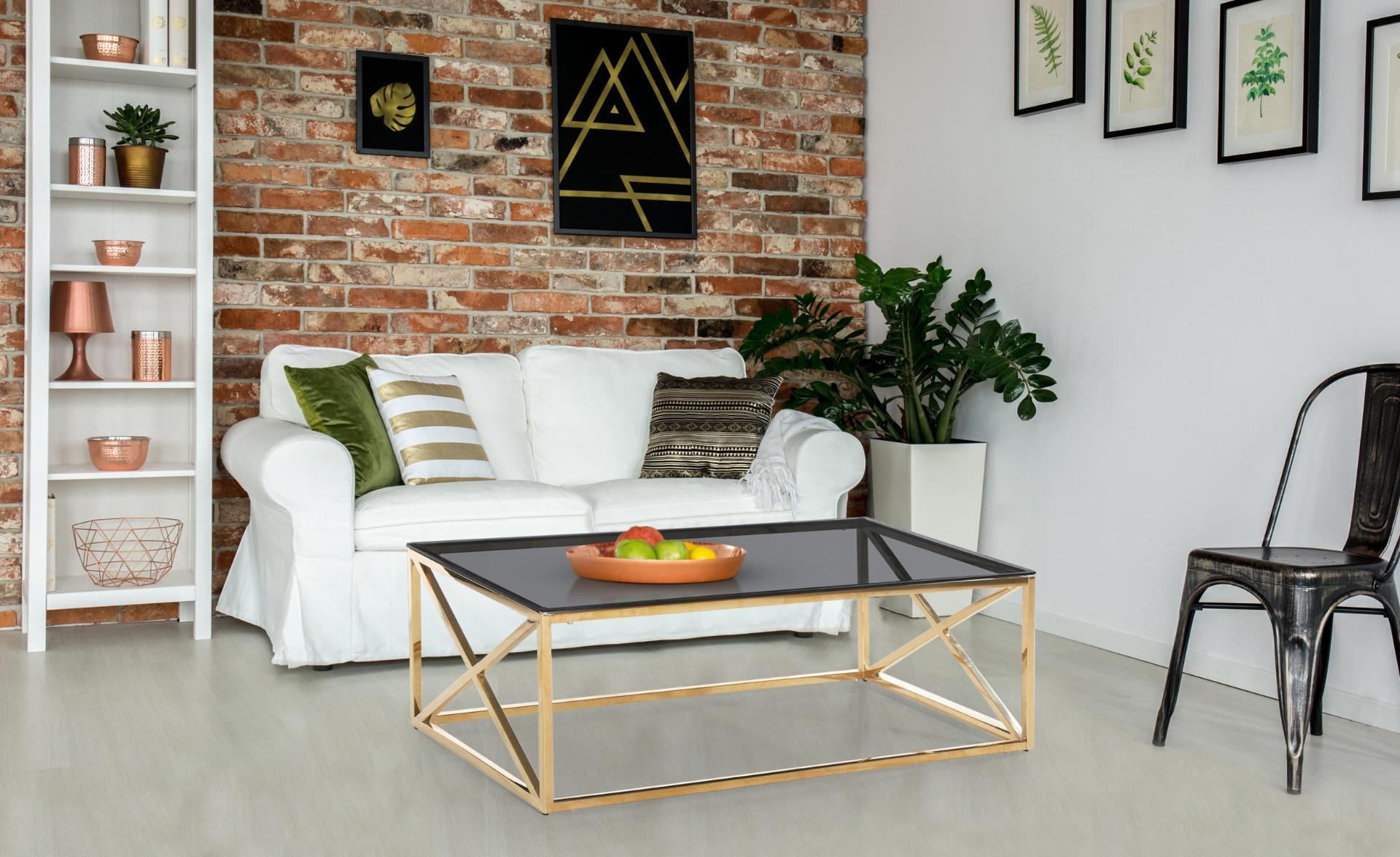 Sydney salontafel in gerookt glas en gouden poten