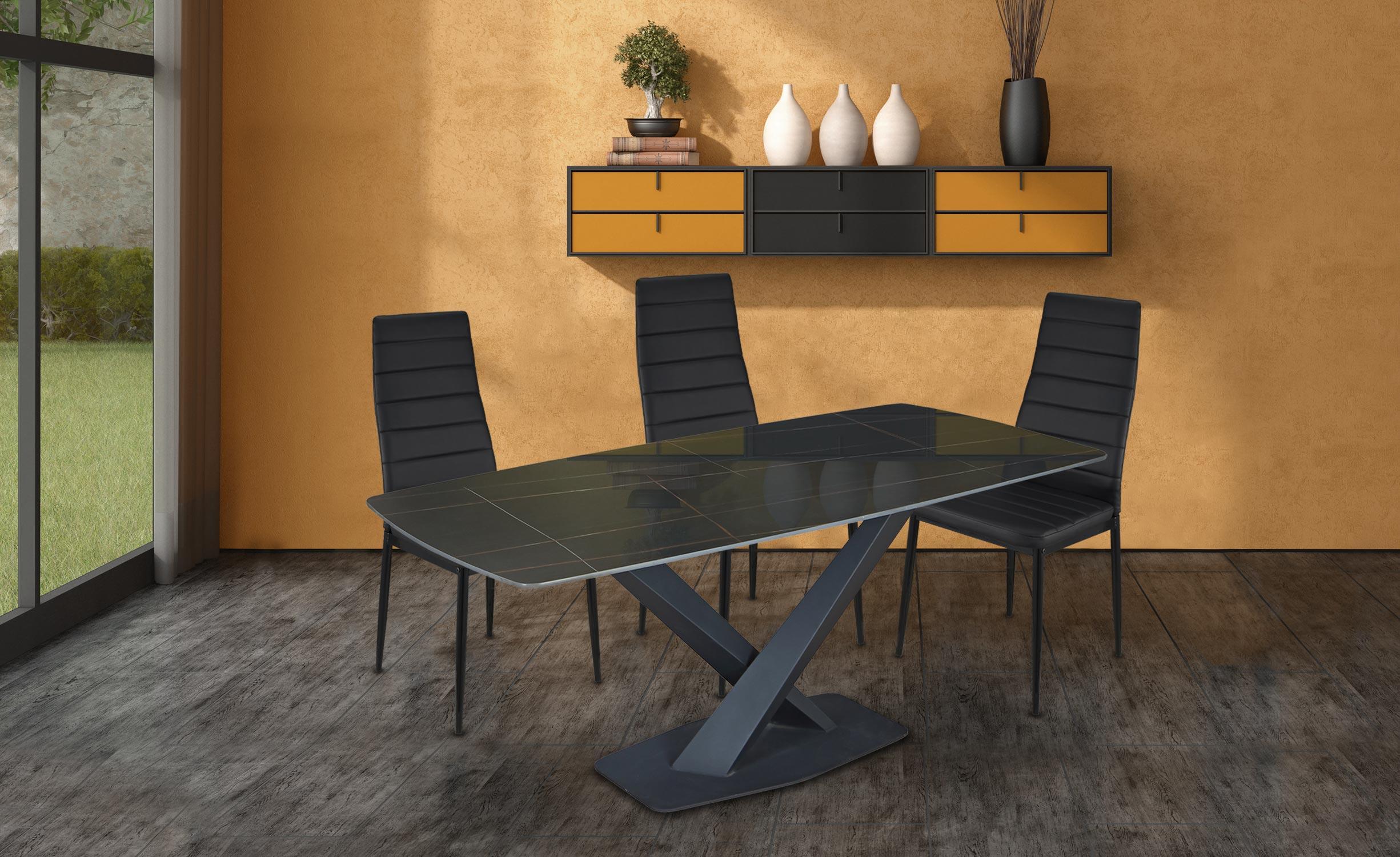 Axena tafel in zwart glas