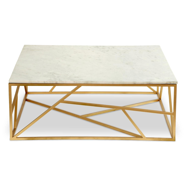 Vierkante salontafel puzzel marmer en goud metaal