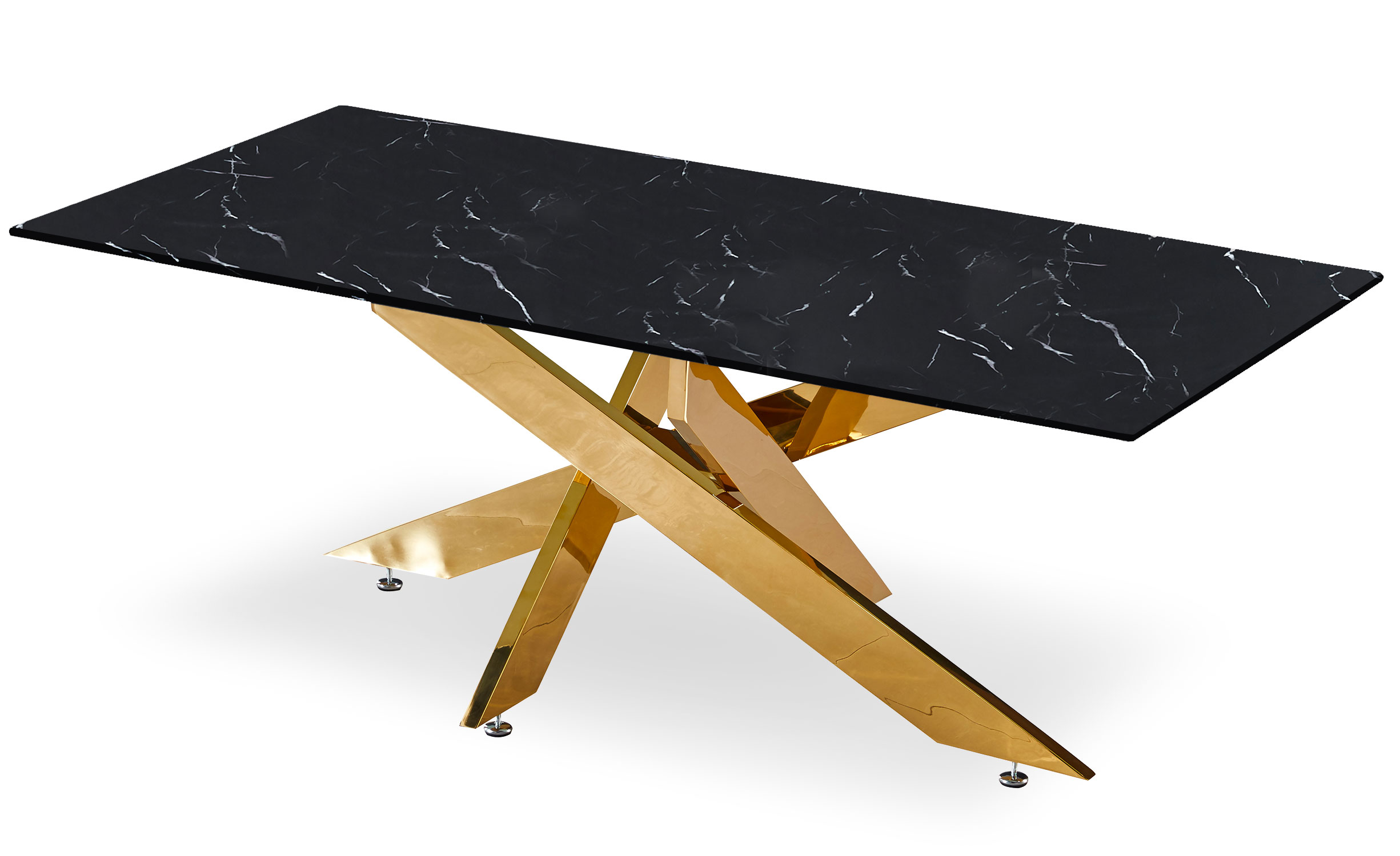 Naelle salontafel in zwart marmer en gouden poten