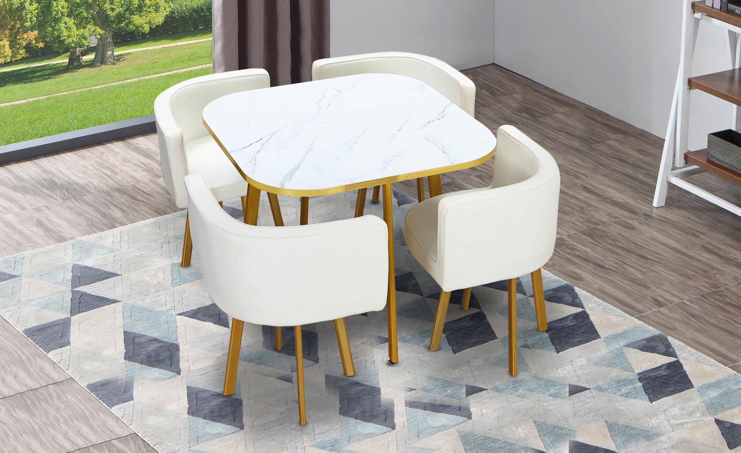 Oslo goudkleurig marmereffect en witte simili tafel en stoelen