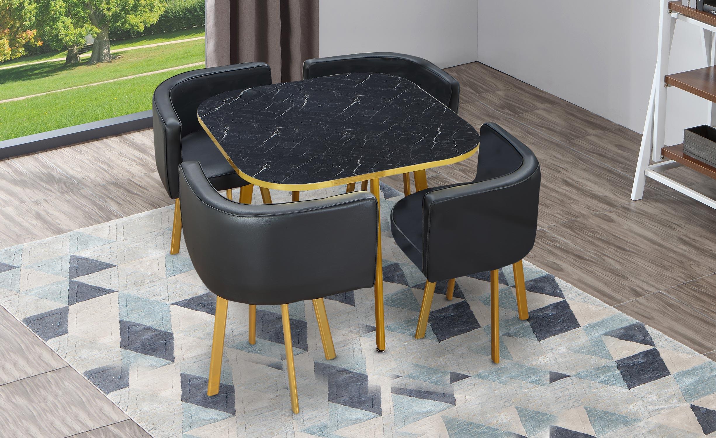 Oslo goud marmereffect en zwarte simili tafel en stoelen