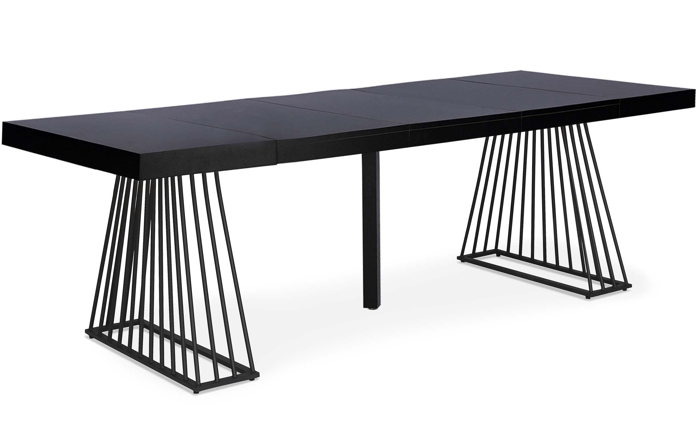Factory zwarte uitschuifbare tafel met zwarte poten