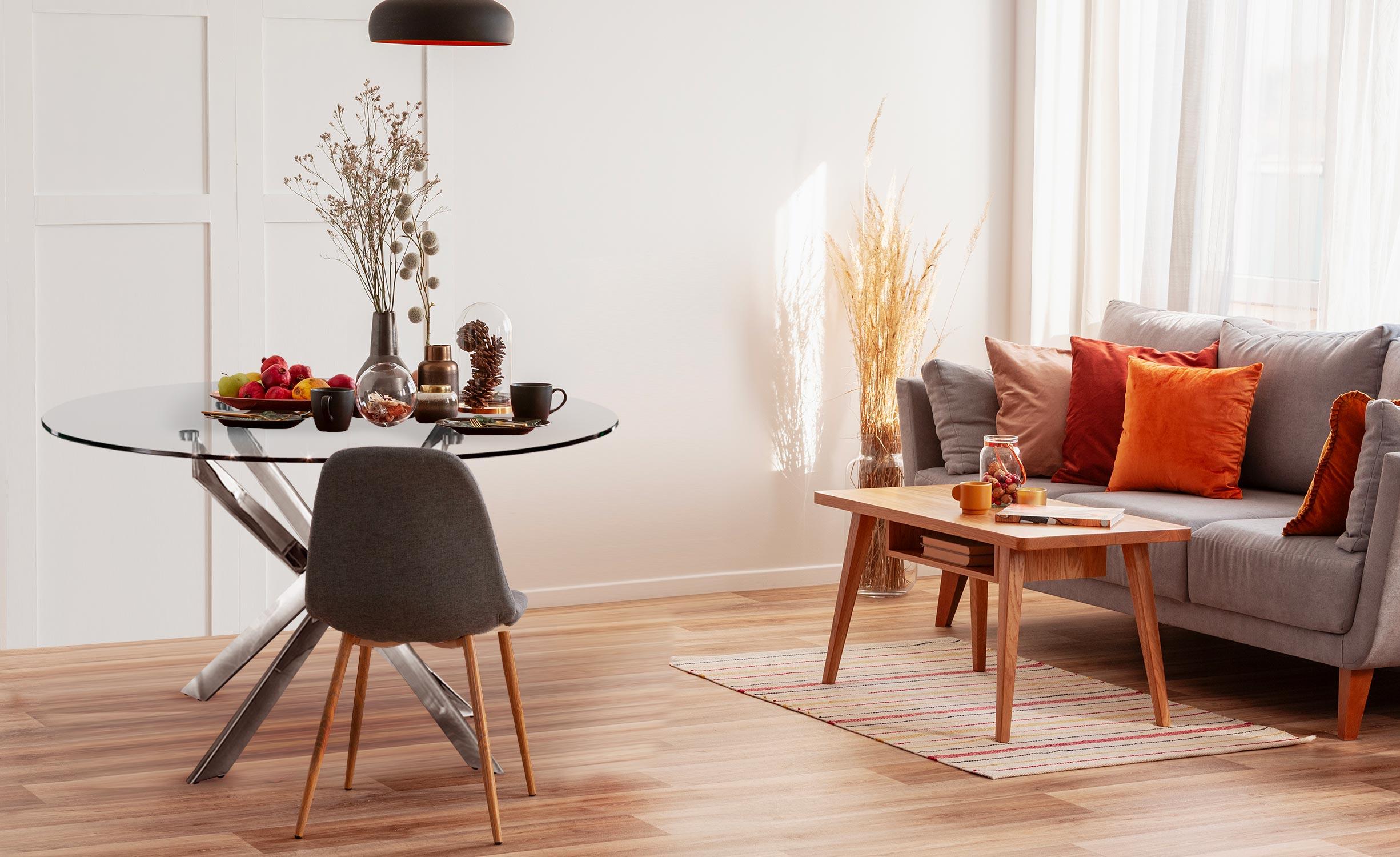 Ronde Corix glazen tafel met metalen poten