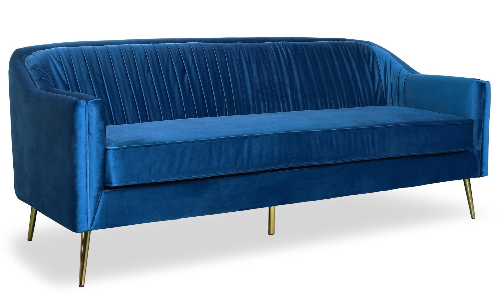 Canapé 3 Places Tela Velours Bleu Pied Or