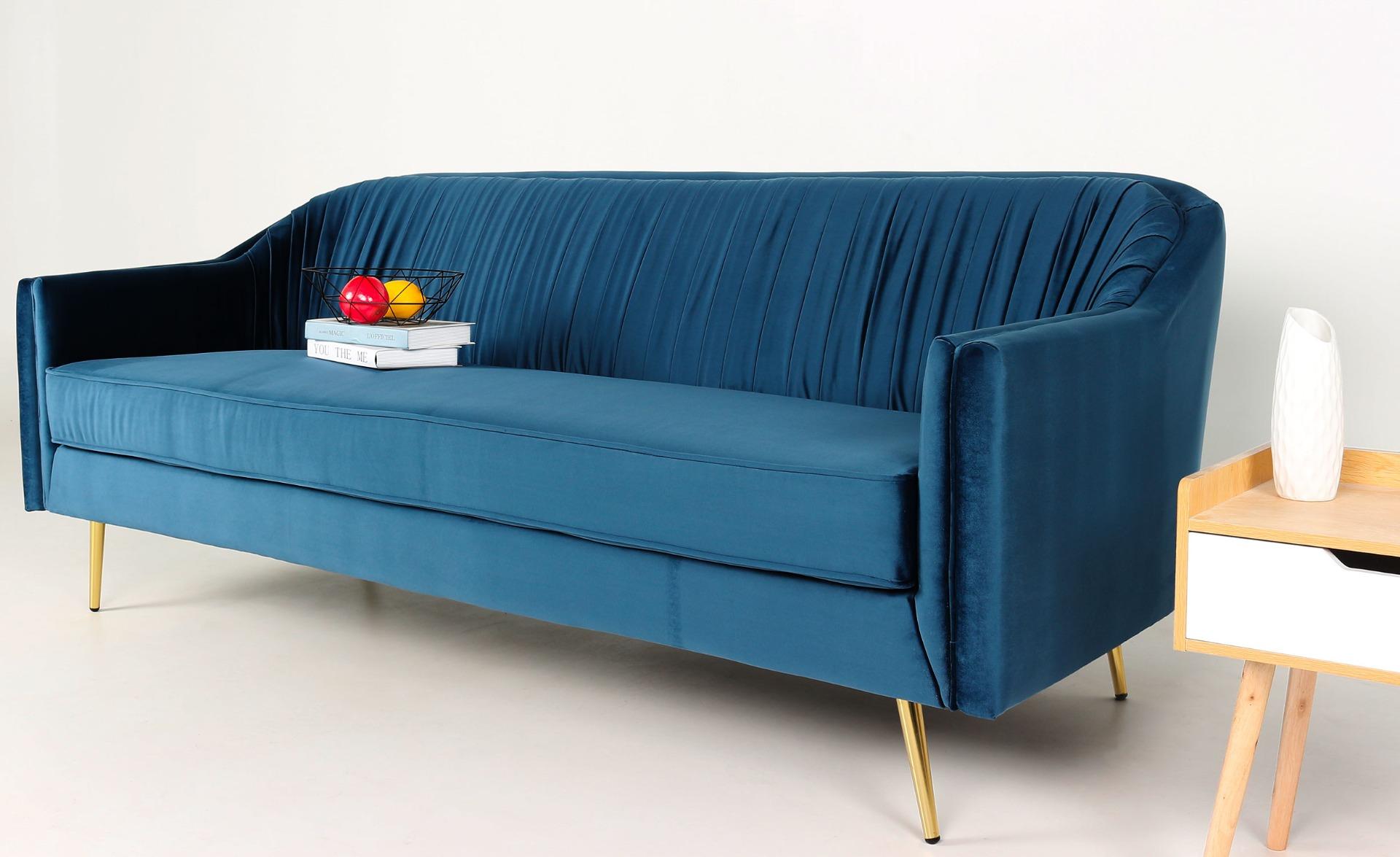 3-zitsbank Tela blauw fluweel met gouden poten