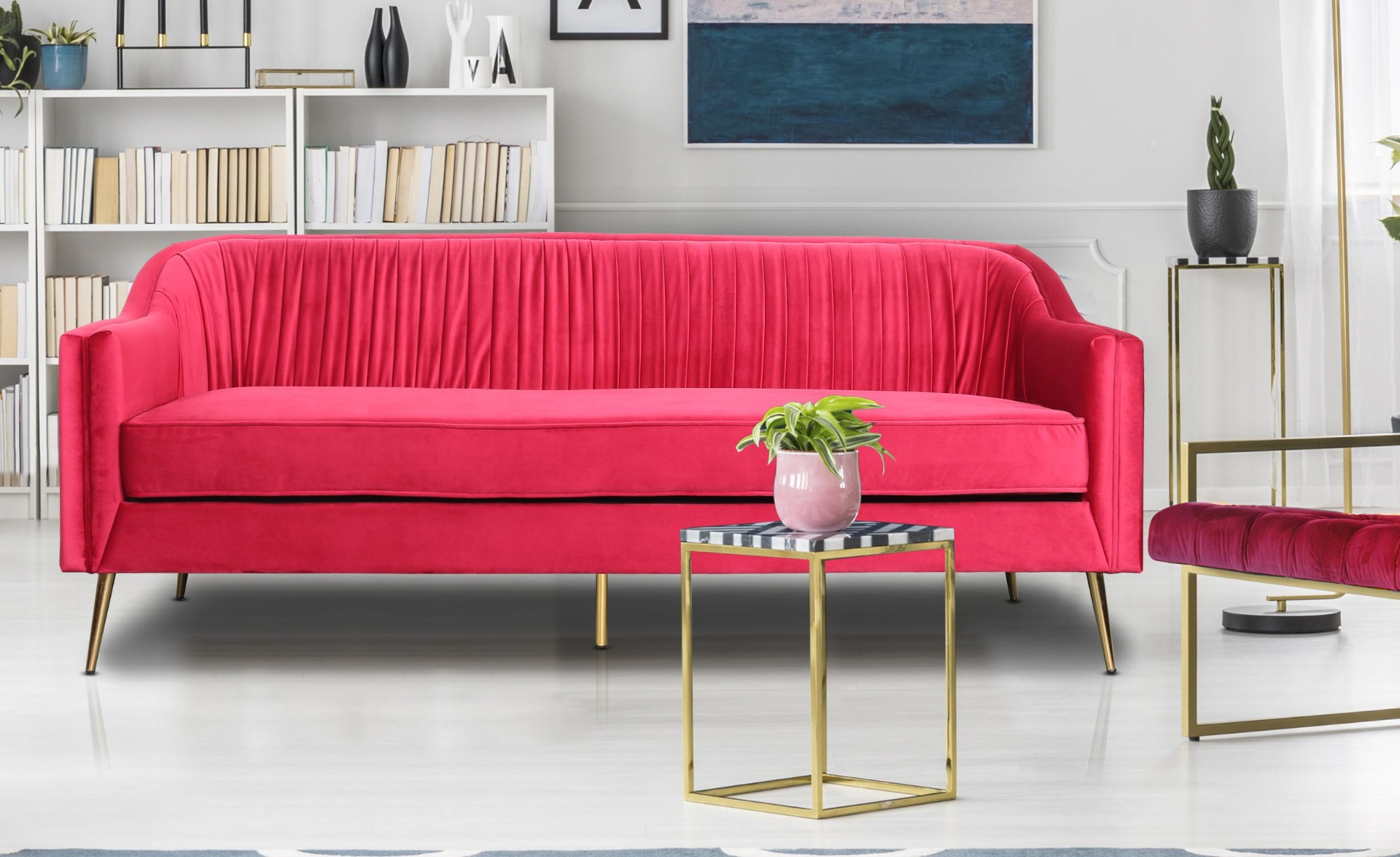 3-zitsbank Tela rood fluweel met gouden poten