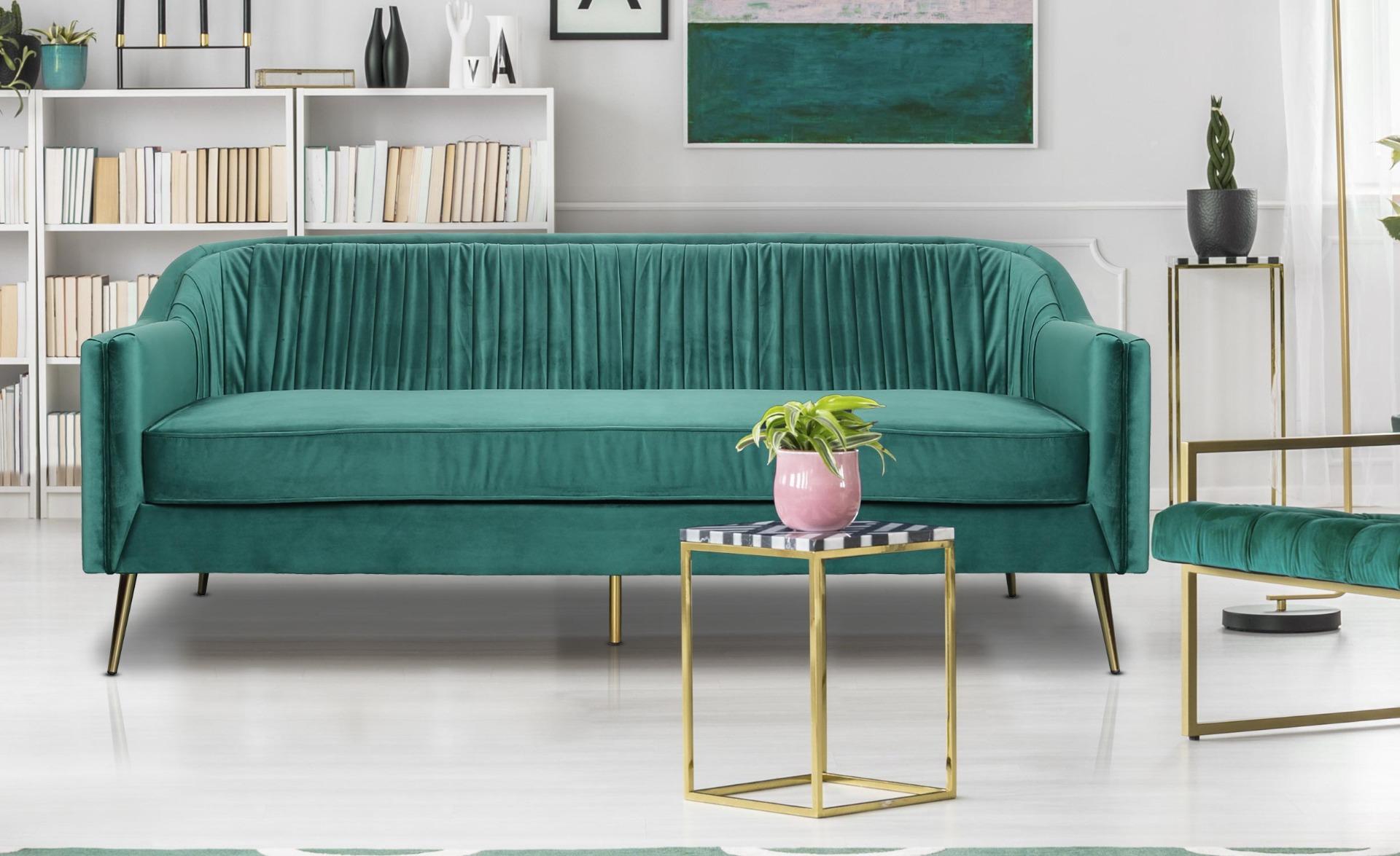 3-zitsbank Tela groen fluweel met gouden poten