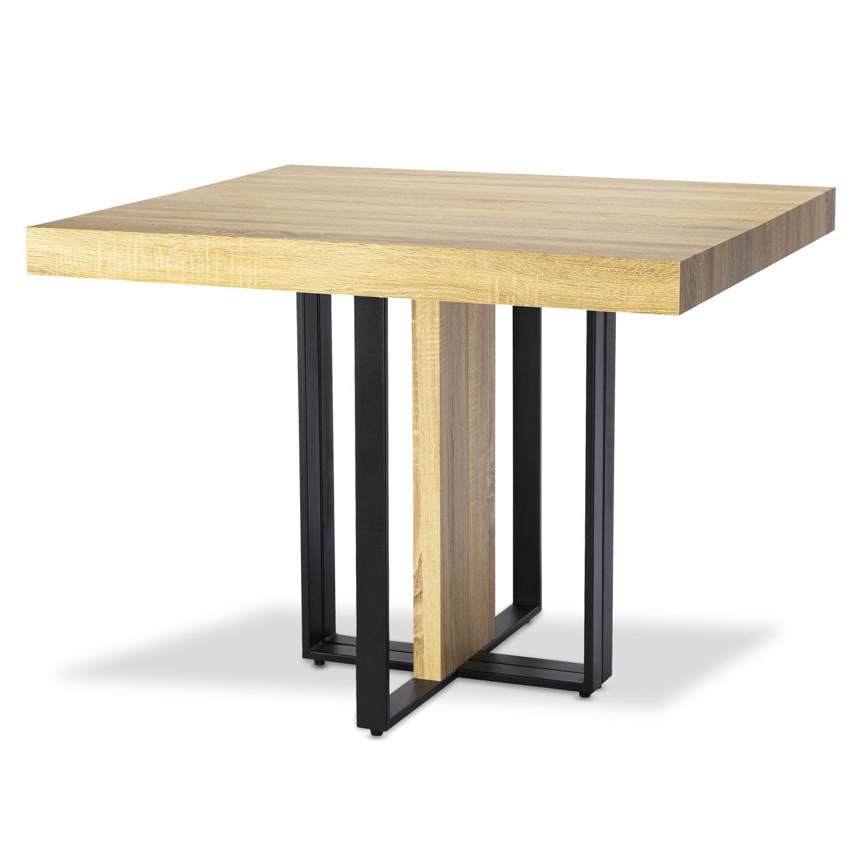 Uitschuifbare tafel Teresa Light Oak zwarte poten