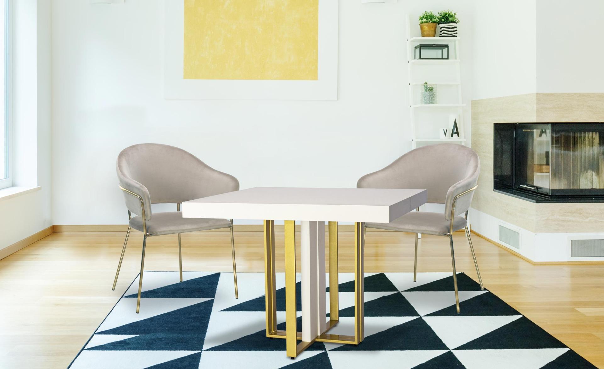 Uitschuifbare tafel Teresa Gold Witgouden poten