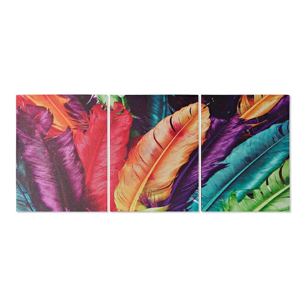 Toiles triptyque Piuma 90x40cm Motif Plume Multicolore