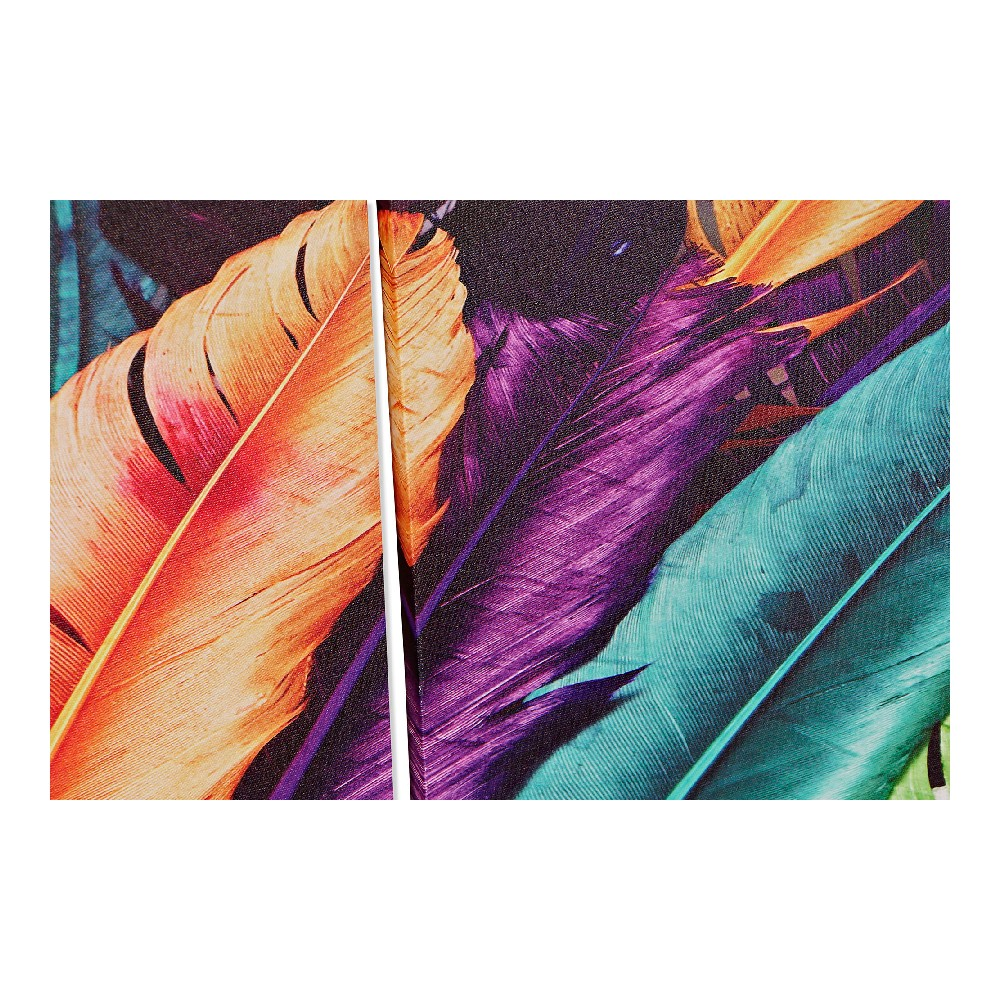 Schilderij DKD Home Decor Canvas Veren (3 pcs) (30 x 1.8 x 40 cm)