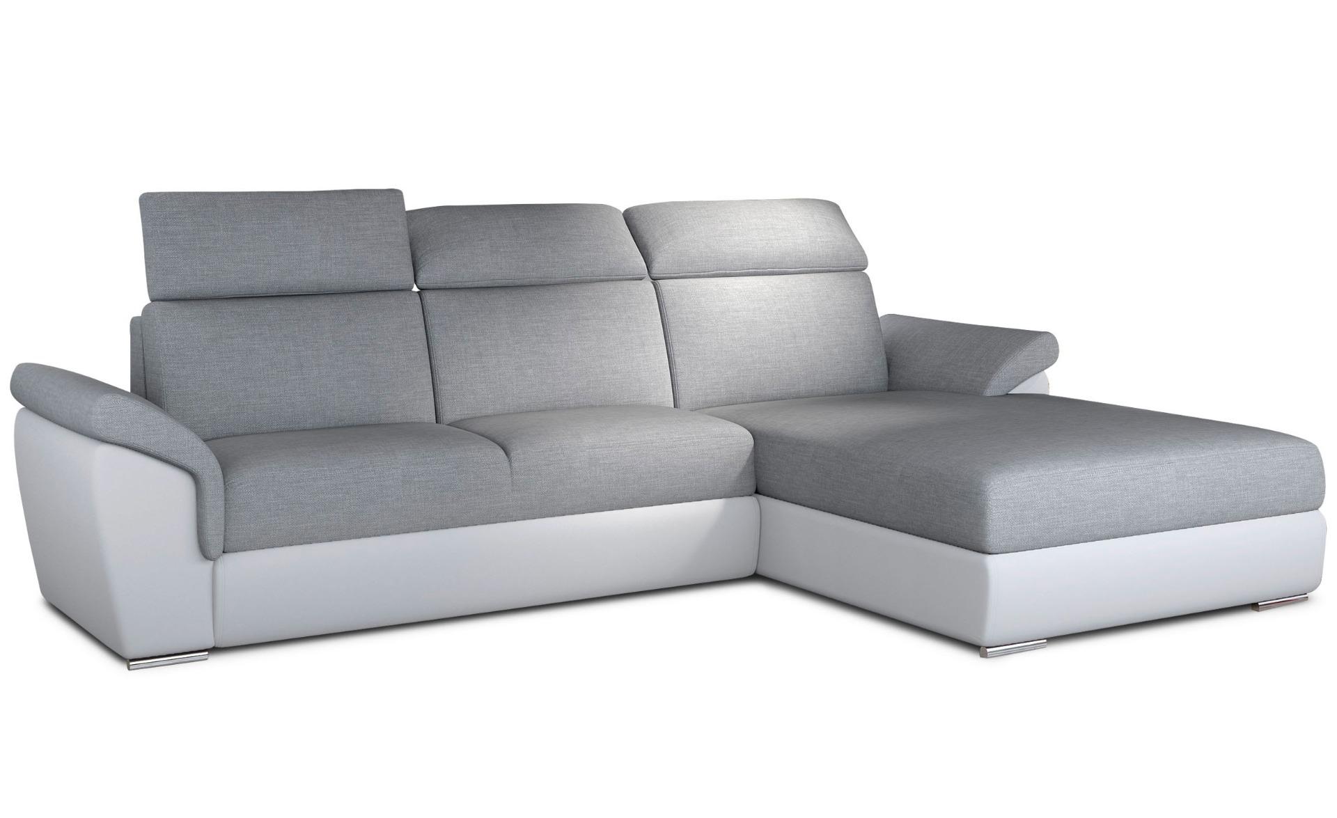 Canapé d'angle convertible Trevisco Tissu Gris et Simili Blanc