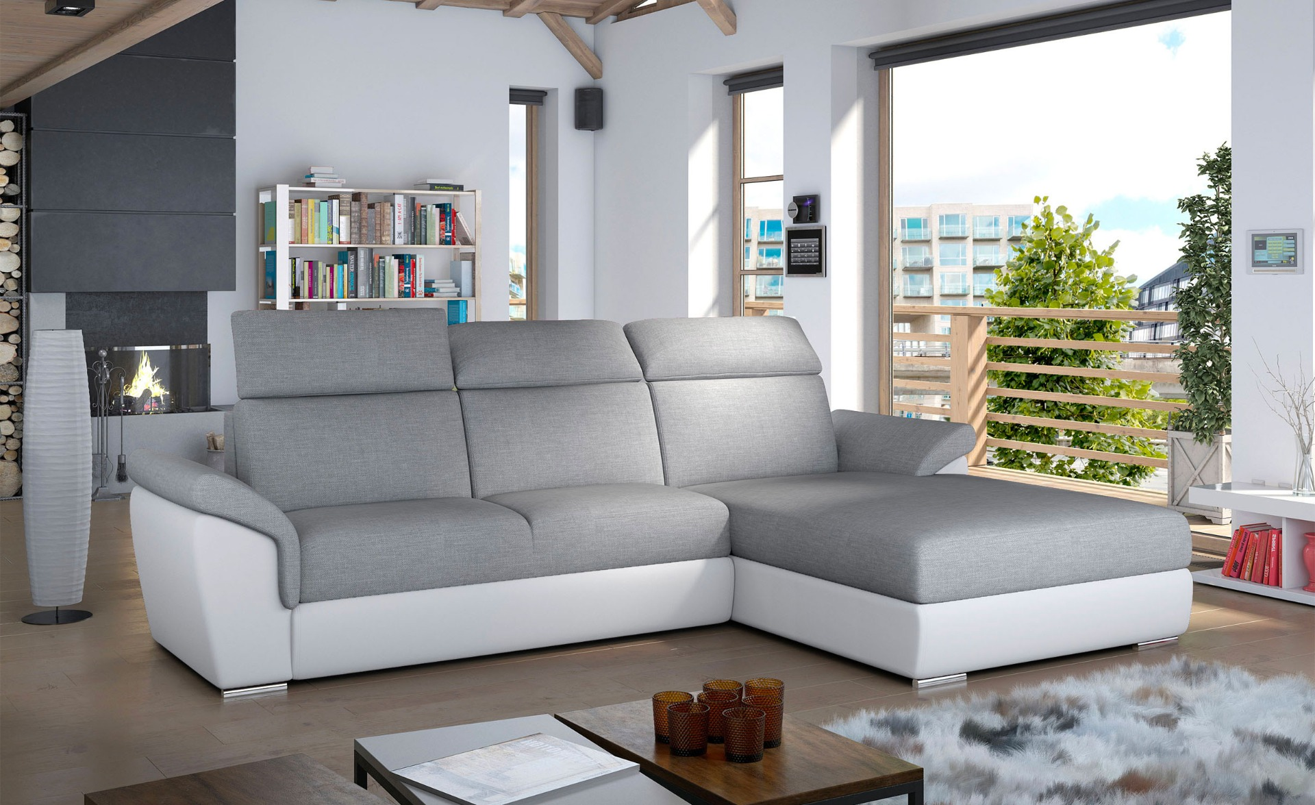 Converteerbare hoekbank Trevisco grijze stof en witte faux